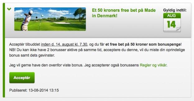 50 kr. freebet til golfturneringen Made in Denmark. Intet krav om indskud.