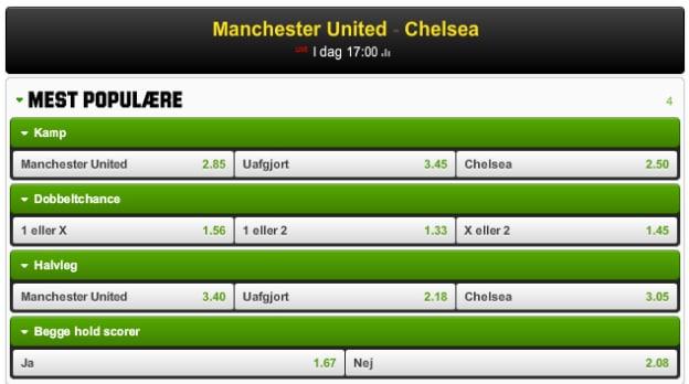 Manchester United-Chelsea odds fra Unibet