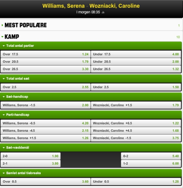 Wozniacki-Williams semifainale i Singapore - odds fra Unibet