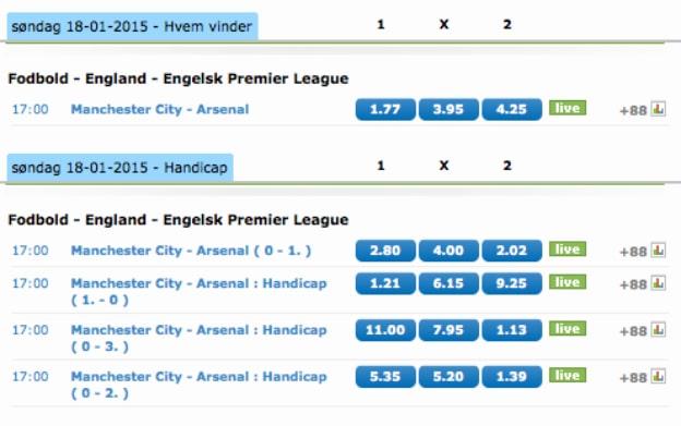 Få op til 500 kr. tilbage på tabte væddemål i Manchester City-Arsenal