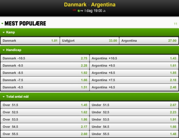 Få odds 3.00 på Danmark imod Argentina