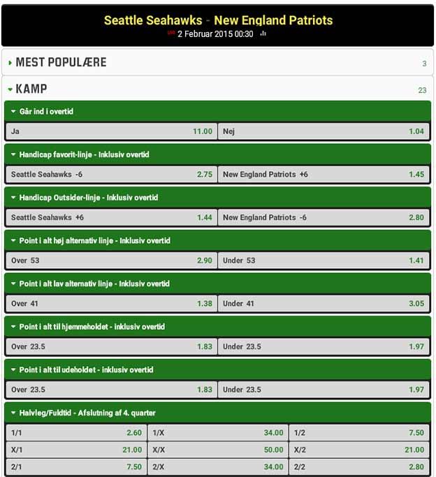 Få et risikofrit livespil på 250 kr. på Super Bowl