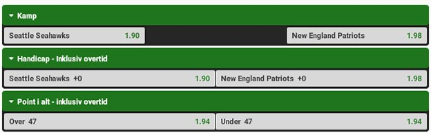 Super Bowl 2015 odds fra Unibet