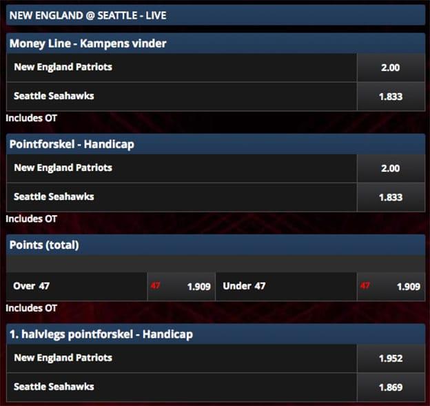 Super Bowl-odds fra Scandic Bookmakers