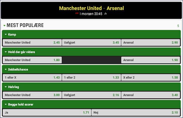 Brag i engelsk fodbold; Manchester United møder Arsenal