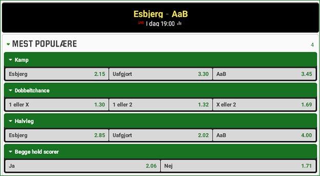 Esbjerg-AaB odds fra Unibet