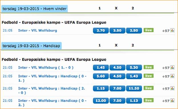 Inter-Wolfsburg odds fra NordicBet