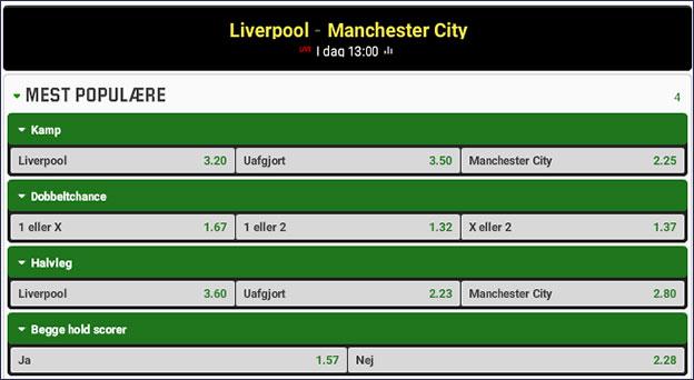 Topkamp i Premier League mellem Liverpool og Manchester City