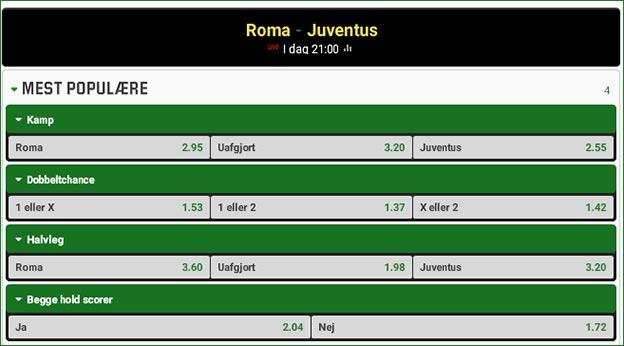 Roma-Juventus odds fra Unibet