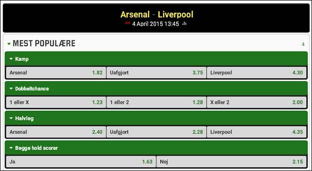Arsenal møder Liverpool på Emirates