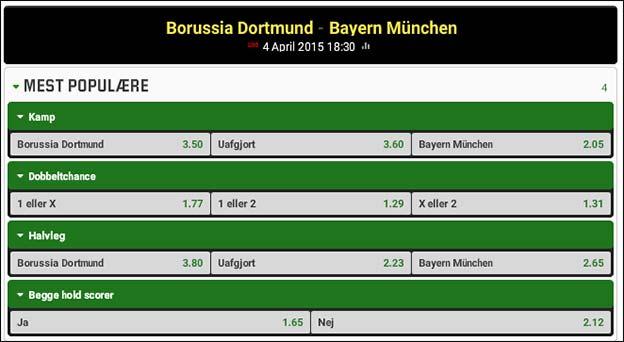 Dortmun-Bayern München odds