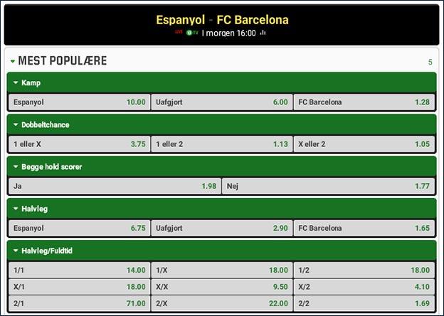Espanyol-Barcelona odds