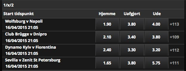 Europa League odds fra Scandic Bookmakers