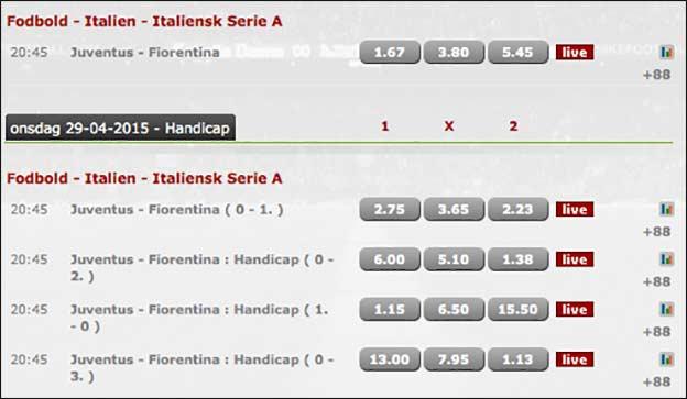 Juventus-Fiorentina odds
