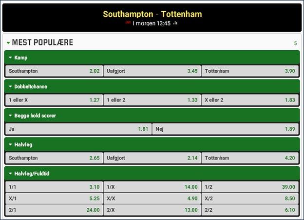 Southampton-Tottenham odds