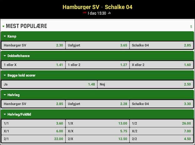 Spilforslag til Bundesligaen; HSV-Schalke 04