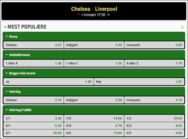 Odds på topkampe i henholdsvis Premier League og La Liga