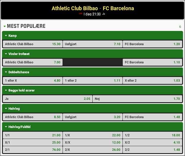 Copa del Rey-finalen står i år mellem Athletic Bilbao og de spanske mestre Barcelona