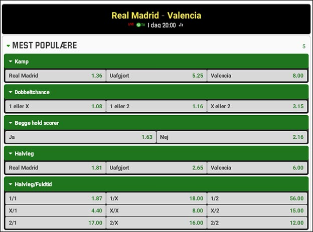 Topkamp i Spanien; Real Madrid-Valencia