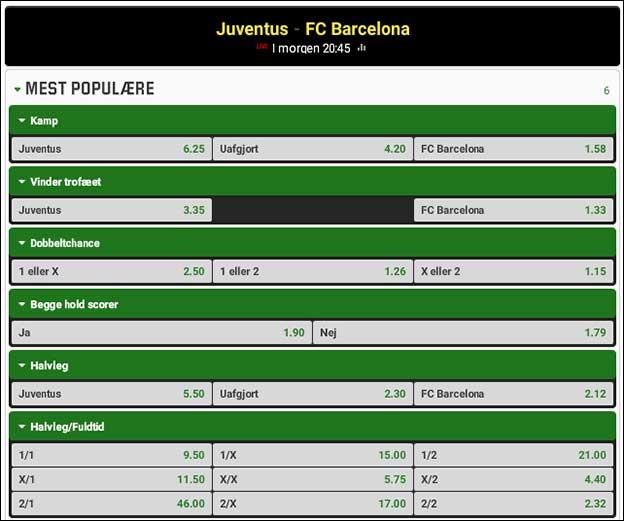 Bookmakerne har Barcelona til store favoritter i Champions League-finalen imod Juventus