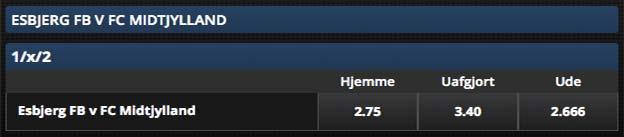Få 50% ekstra oven i din gevinst hvis FCM scorer først imod Esbjerg