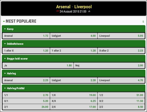 Odds på Arsenal-Liverpool fra Unibet