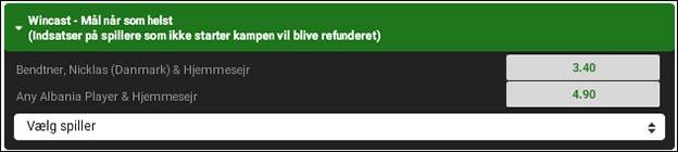 Få odds 7.00 på at Bendtner scorer og Danmark samtidig vinder over Albanien