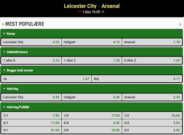 Odds på Leicester - Arsenal fra Unibet
