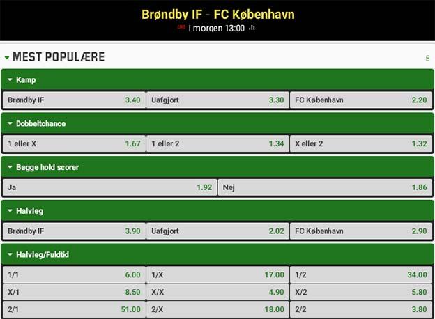 Få boostede odds på New Firm mellem Brøndby og FC København