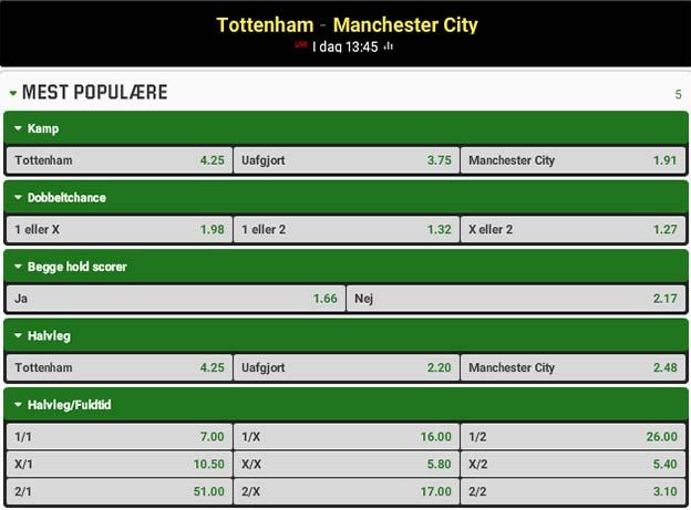 Odds på Tottenham - Manchester City fra Unibet