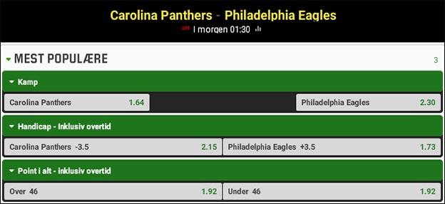 Jesper Elming tipper Carolina Panthers vs. Philadelphia Eagles