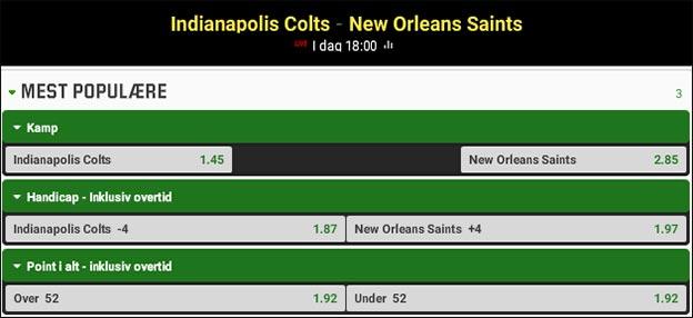 Jesper Elming tipper Indianapolis Colts vs. New Orleans Saints