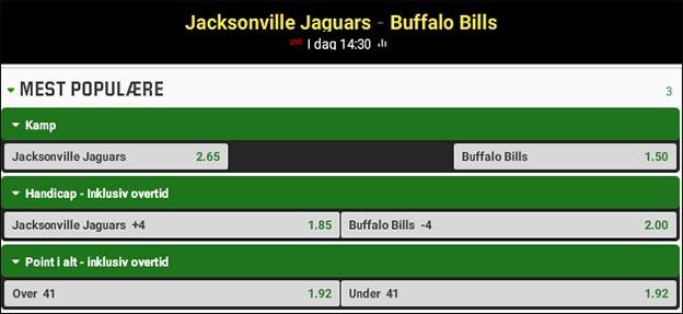 Jesper Elming tipper Jacksonville Jaguars vs. Buffalo Bills