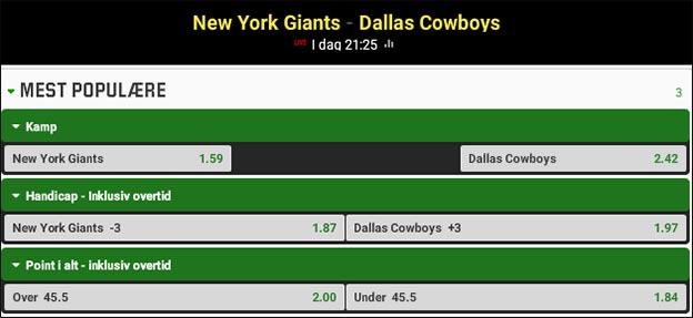 Jesper Elming tipper New York Giants vs. Dallas Cowboys
