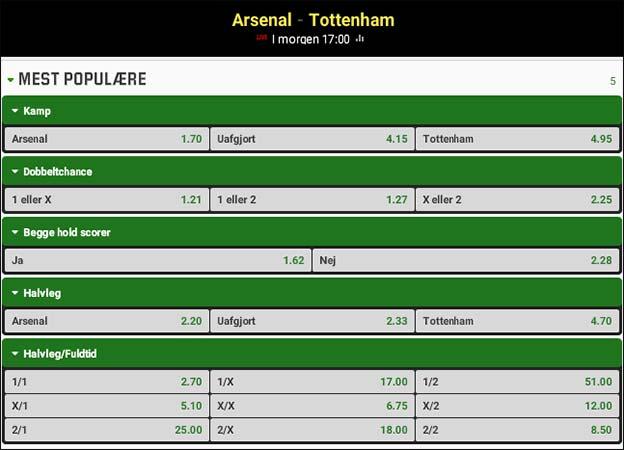 Arsenal-Tottenham -odds på lokalopgør i London fra Unibet