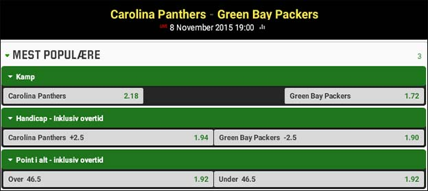 Carolina Panthers - Green Bay Packers - NFL-tip fra Jesper Elming