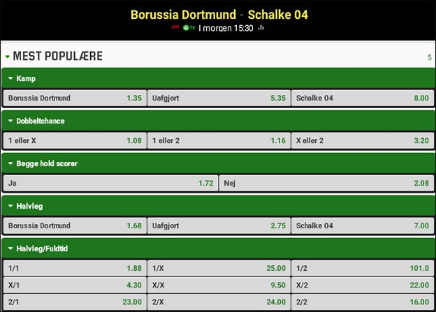 Dortmund-Schalke 04 lokalopgør odds fra Unibet