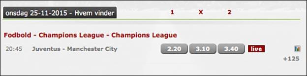 Spil på Juventus-Manchester City hos Betsafe og få pengene retur hvis du taber