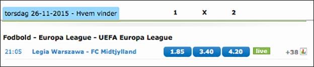 Spil på Legia Warszawa-FC Midtjylland og få 100 kr. freebet til Tottenham-Chelsea