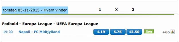 Napoli-FCM odds fra NordicBet