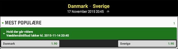 Unibet giver dig odds 4 på at Danmark kvalificerer sig til EM