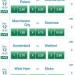 Sådan ser det ud når du f.eks. tjekker oddsene fra Premier League