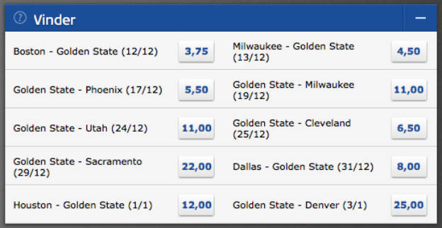 Spil på hvornår Golden State Warriors taber den første kamp