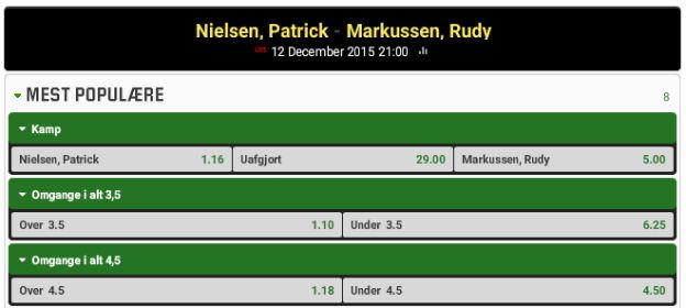 Spil på sejr til Rudy Markussen over Patrick Nielsen uden at kunne tabe