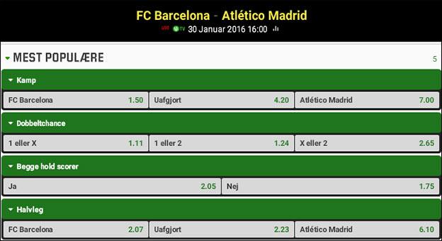 Odds på Barcelona-Atletico Madrid hos Unibet