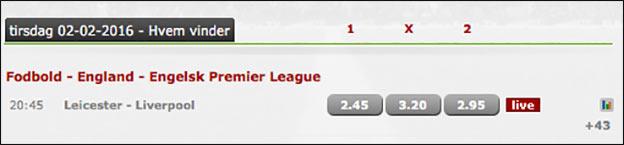Få et risikofrit spil på Premier League-kampen mellem Leicester og Liverpool