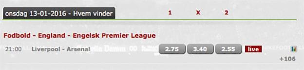 Odds på Liverpool-Arsenal fra Betsafe