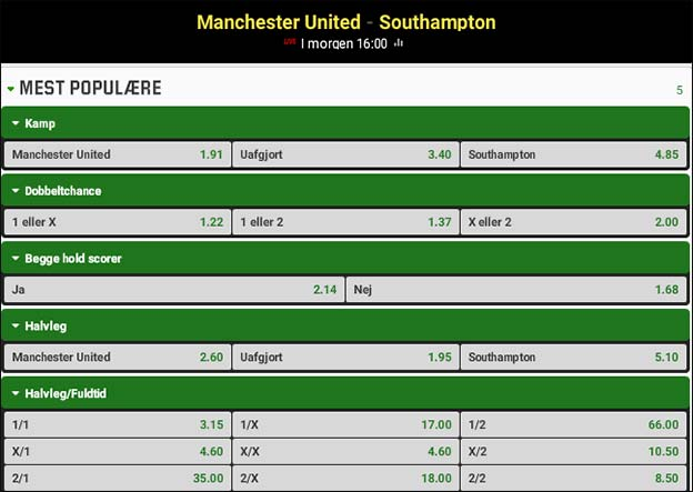 Odds, optakt og spilforslag til Manchester United-Southampton