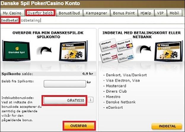 danske spil udbetaling til bankkonto
