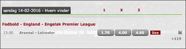 Få et risikofrit spil på Arsenal-Leicester hos Betsafe